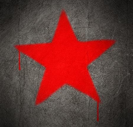 estrellas  de militares: graffiti estrella roja sobre un muro de hormigón de grunge