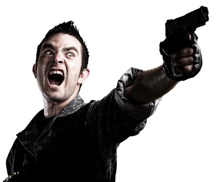vintage gun: man shooting on a white background Stock Photo