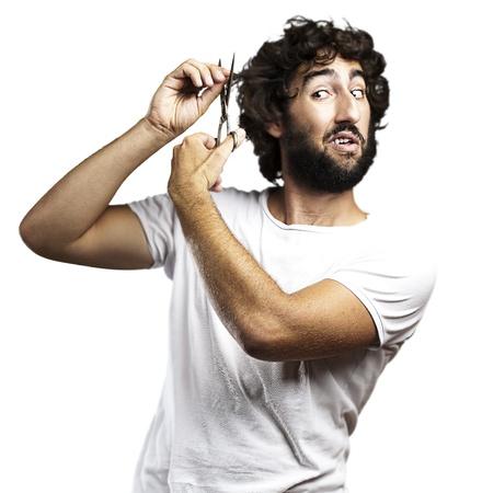 人間の髪の毛: 白い背景の髪をカットの若い男の肖像