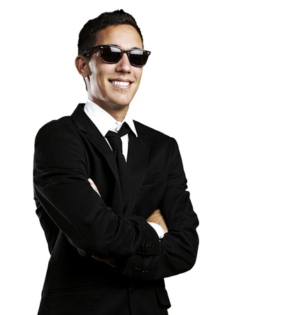 portrait of young business man with suit and sunglasses on white background Stock Photo - 10550290