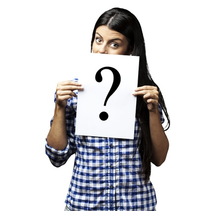 portrait of young woman with question paper on white background photo