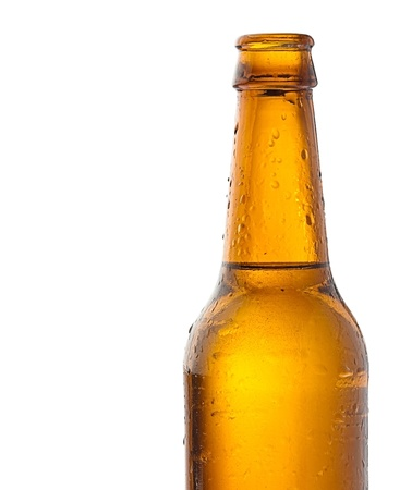 single beer bottle: recently opened beer bottle on white background