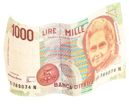 italian lira note on white background photo