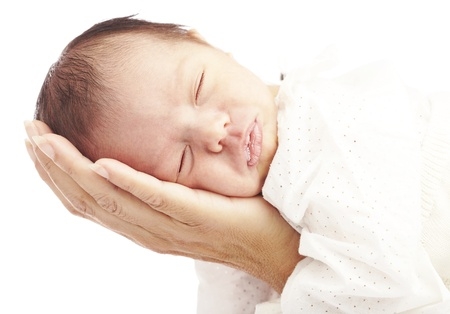 portrait of newborn baby holded by mother hands against a white background photo