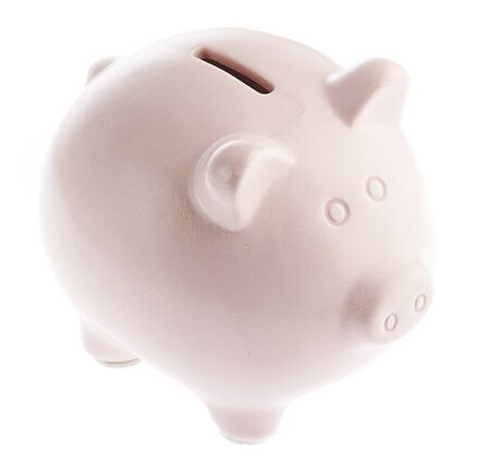 pink piggy bank isolated on a white background photo