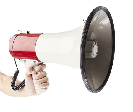 emergency call: man holding megaphone against a white background Stock Photo