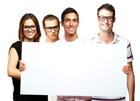 portrait of friends holding banner over white background photo