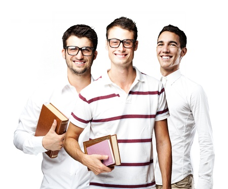 portrait of student´s group smiling over white background Stock Photo - 11507527