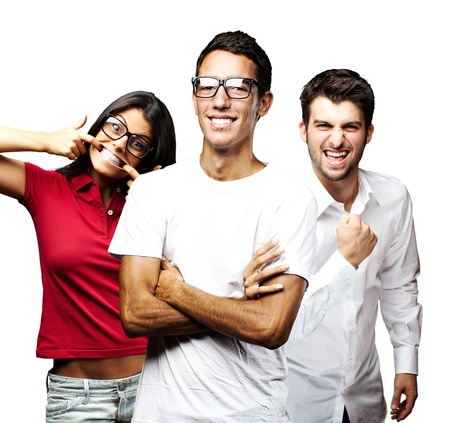 portrait of student´s group smiling and joking over white background photo