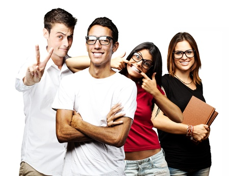 portrait of student´s group smiling and joking over white background Stock Photo - 11507576