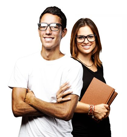 portrait of student´s group smiling over white background photo