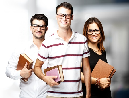portrait of student´s group smiling and joking indoor background Stock Photo - 11507581