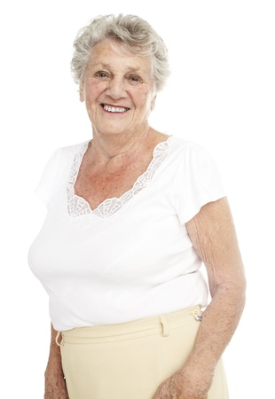 portrait of a happy senior woman smiling over white background photo
