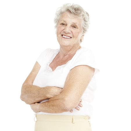portrait of a happy senior woman smiling over white background Stock Photo - 11507223