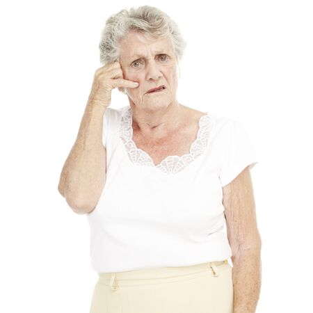 portrait of senior woman gesturing call over white background photo