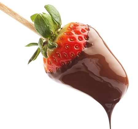 strawberry and chocolate on a white background photo