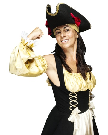portrait of pirate woman gesturing against a white background photo