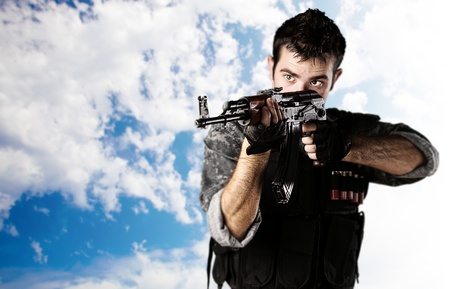 soldier aiming Stock Photo - 13486142
