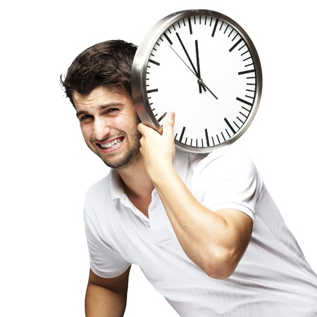 man carrying clock on his back Stock Photo - 13486136