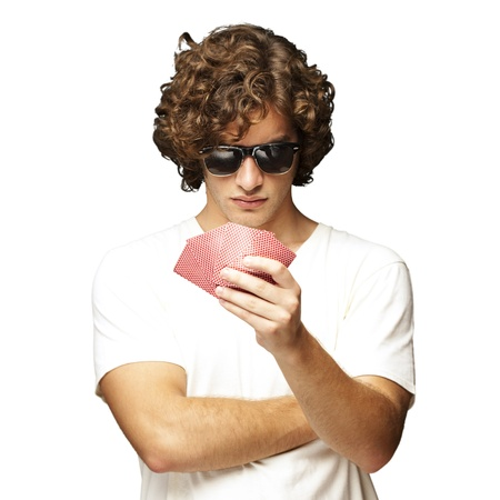 man holding cards photo