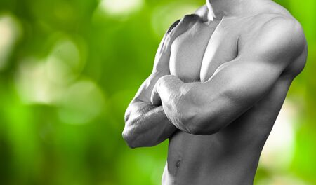 jungle gyms: strong torso of young man on a green plants background Stock Photo