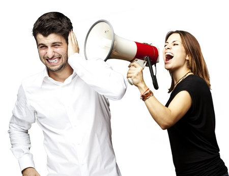 young woman screaming a man with the megaphone over white photo