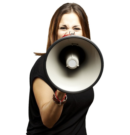 portrait of young woman shouting with megaphone over white photo