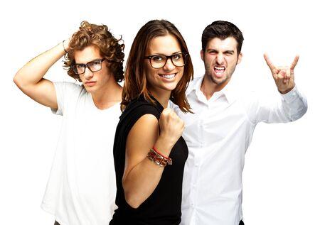 young people enjoying over white background photo