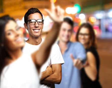 young people enjoying at city by night Stock Photo - 12656259
