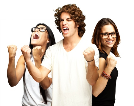 young people enjoying over white background photo