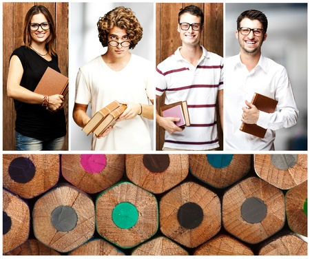 composition of young students indoor and against a wooden wall Stock Photo - 12656400
