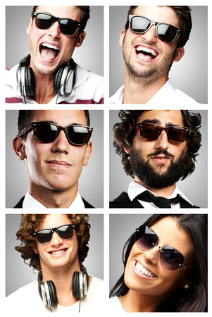 young people enjoying wearing sunglasses over grey background photo