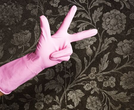 pink gloves of maid gesturing number three against a vintage wall photo