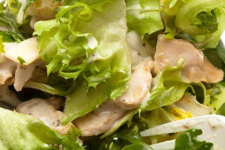 CHICKEN CAESAR SALAD: delicious and fresh caesar salad, closeup photo Stock Photo