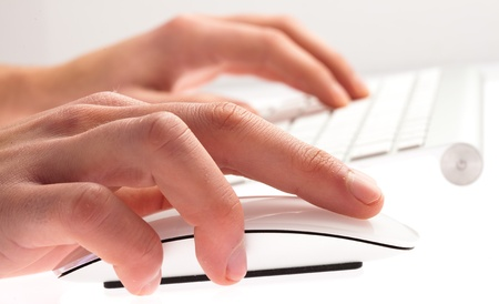 man typing with keyboard on a white background Stock Photo - 12656689