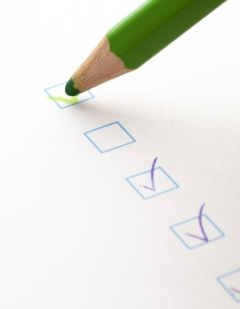 tester la case à cocher et vert pastel, closeup photo