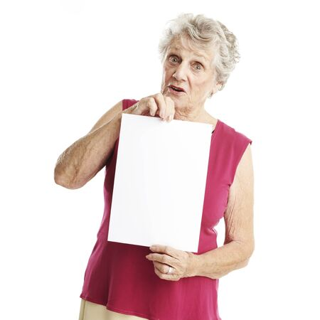 portrait of senior woman holding banner over white background photo
