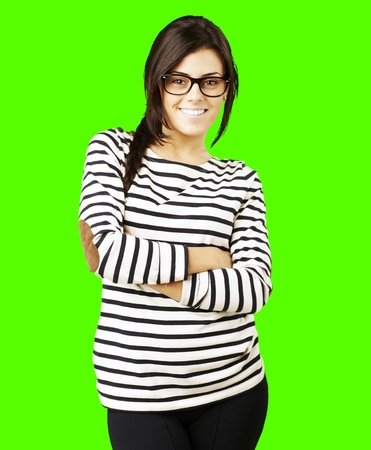removable: portrait of a young happy woman posing against a removable chroma key background Stock Photo