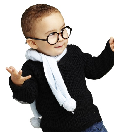 child finger: happy boy wearing round glasses and a blue scarf against a white background
