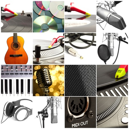 group of pictures of different musical instruments photo