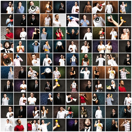 book background: group of different pictures with people holding objects Stock Photo