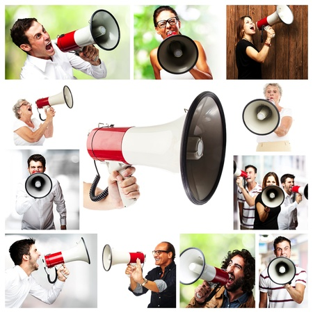 group of different people shouting with a megaphone photo