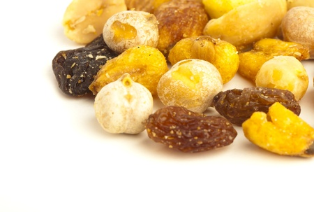 mix fruit: closeup of a dry nuts stack on a white background Stock Photo