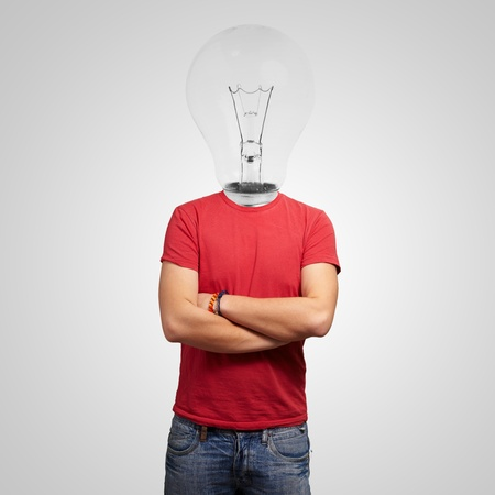 Portrait Of Man With Light Bulb Head photo
