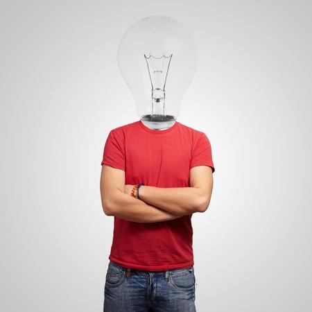 Portrait Of Man With Light Bulb Head Stock Photo - 13188794