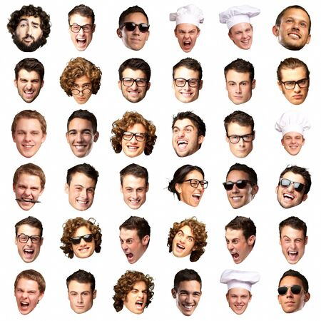 facial gestures: big collection of person faces over white background