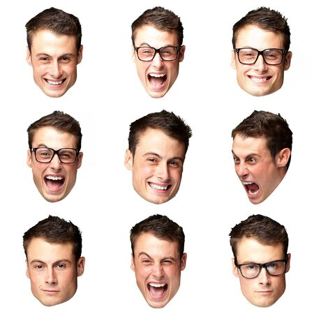 young crazy man faces collection over white photo