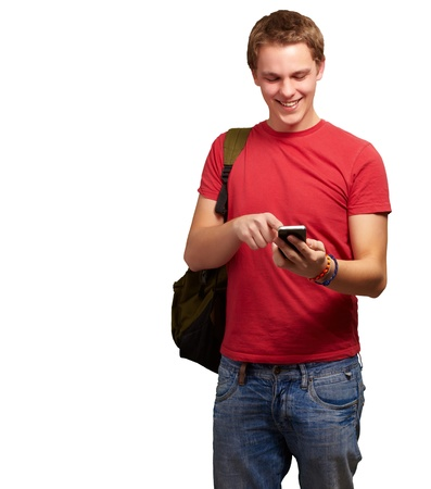 portrait of young man touching mobile screen over white background Stock Photo