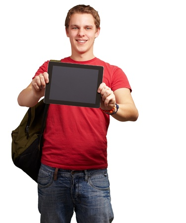 tablet pc in hand: portrait of young man holding a digital tablet over white background Stock Photo