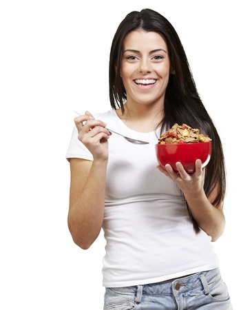 woman holding a delicious red breaksfast bowl against a white background photo